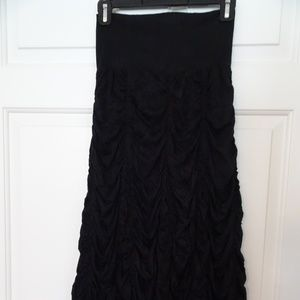 Surrealist Ruched Black Full Length Skirt-Small